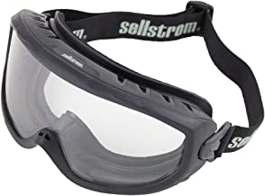 Sellstrom Comfortable, Non-Vented, Wildland Fire Goggle, Scratch-Resistant, Anti-Fog Coating, Clear Lens, Adjustable FR Strap, Black Frame, S80225