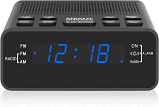 Alarm Clock, AM/FM Digital Alarm Clock Radio with LED Display,Sleep Timer, Dimmer, Snooze Battery Backup for Bedrooms,Beds...