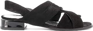 Pierfrancesco Vincenti Sandali Bassi in camoscio a Fasce Incrociate - Scarpe Donna Made in Italy Colore Nero