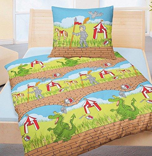 Bierbaum Kinder Bettwäsche Ritter Dino 2305 Renforce 80 x 80 135 x 200 cm