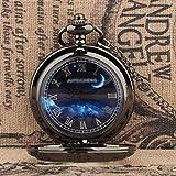 Relojes de bolsillo Reloj de bolsillo de cuarzo Clamshell de la moda Color hueco retro del reloj de bolsillo de los hombres por compañeros de clase regalo de cumpleaños color de acero de tungsteno Rel