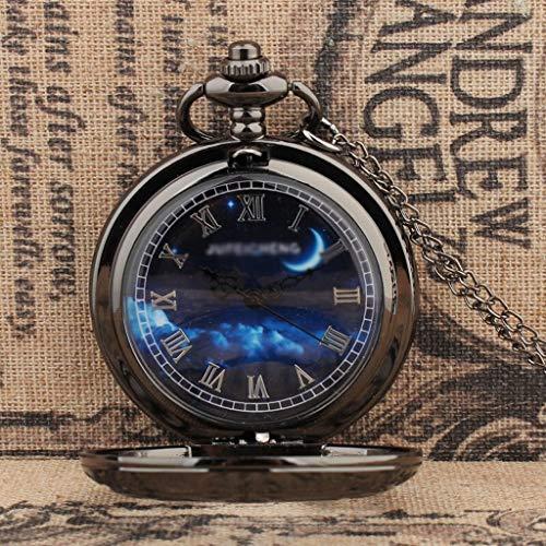 Reloj de Bolsillo Reloj de bolsillo de cuarzo Clamshell de la moda Color hueco retro del reloj de bolsillo de los hombres por compañeros de clase regalo de cumpleaños color de acero de tungsteno Reloj