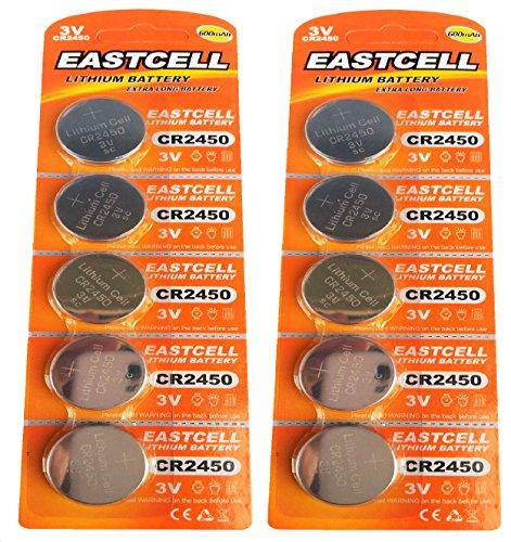 EASTCELL 10 x CR2450 3V Lithium Knopfzelle 600 mAh (2 Blistercards a 5 Batterien) EINWEG Markenware FBA