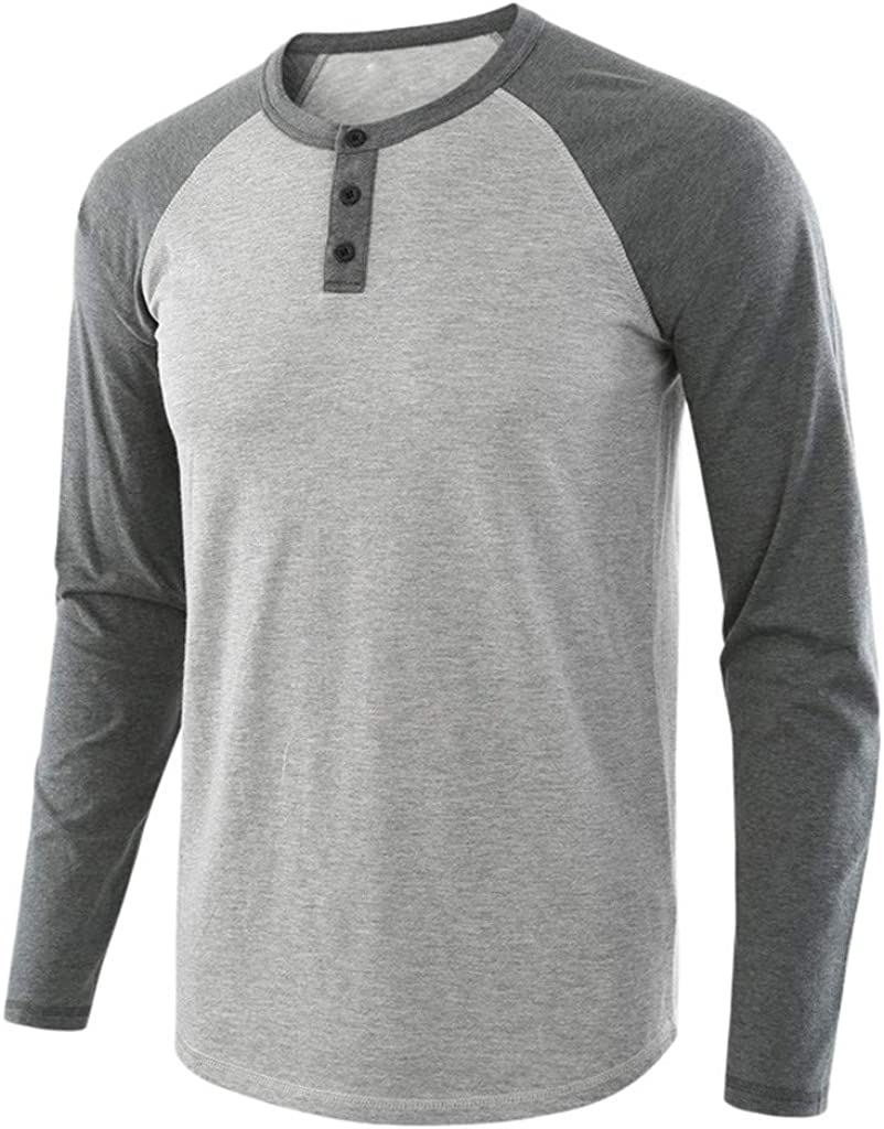 WUAI-Men Casual Long Sleeve Crewneck Patchwork Raglan Henley Button Shirts