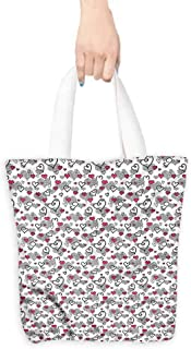 Heavy Duty Shopping Tote Bag,Doodle Valentines Day Hearts,Canvas Grocery Shopping Bags with Handles,16.5