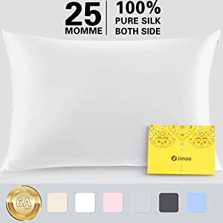 Silk Pillowcase for Hair and Skin,100% Pure Mulberry, 25 Momme 900 Thread Count with Hidden Zipper,Soft Breathable Smooth Both Sided Silk Pillow Cover-Gift Wrapped (Standard 20''×26'', White, 1 Piece)