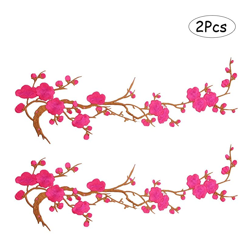 Comidox Blossom Flower Applique Clothing Embroidery Patch Sticker Iron On Sew Cloth DIY Decoration Patch Rose Red 2pcs