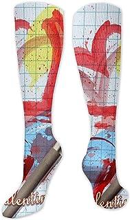 Be-ryl, Calcetines altos Corazones pintados sobre las pantorrillas Calcetines de compresión para hombres y mujeres
