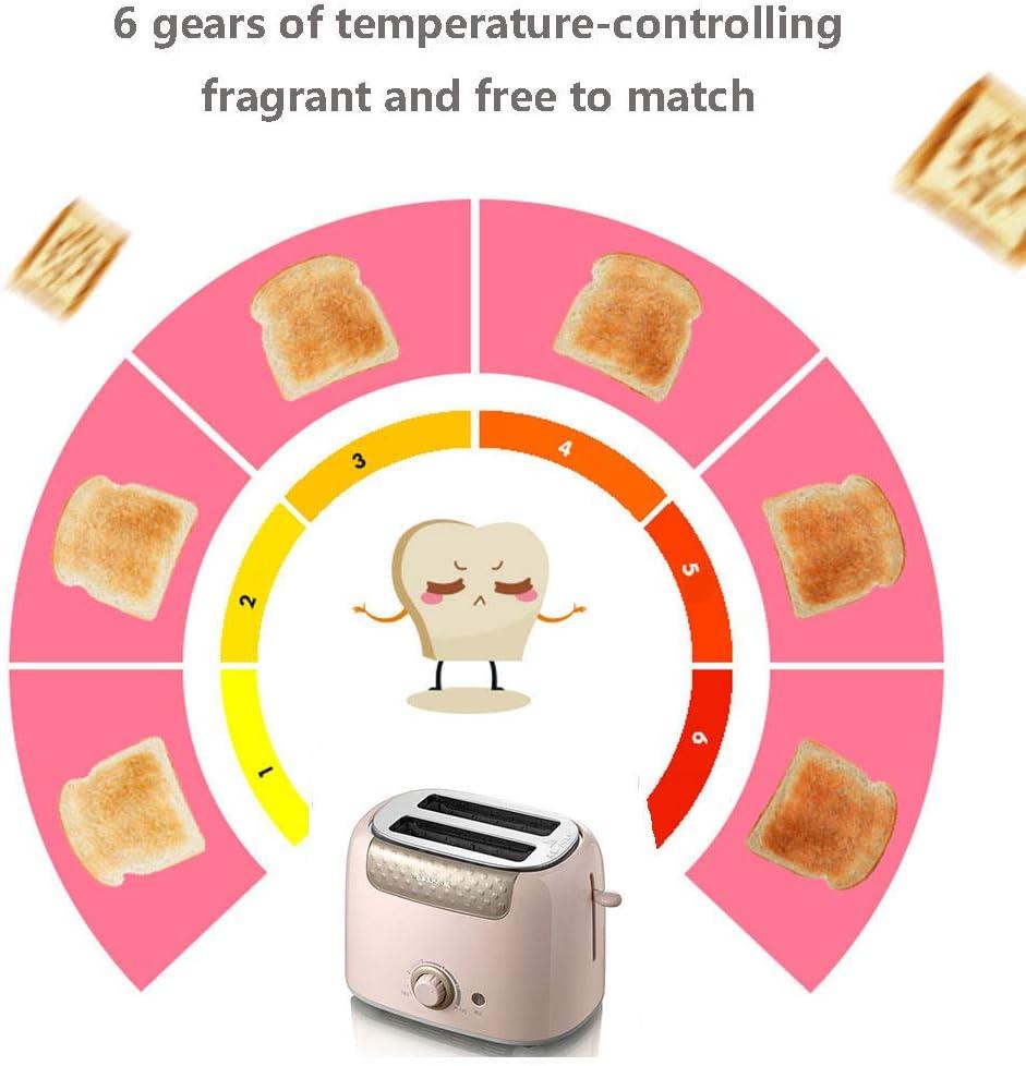 Handig 2 Slice Toaster Multi-Function Ontbijt Sandwich Machine Voor Met 6 Browning Omgeving Met Dust Cover Verwisselbare Crumbtray En Brede Sleuven,Pink Pink