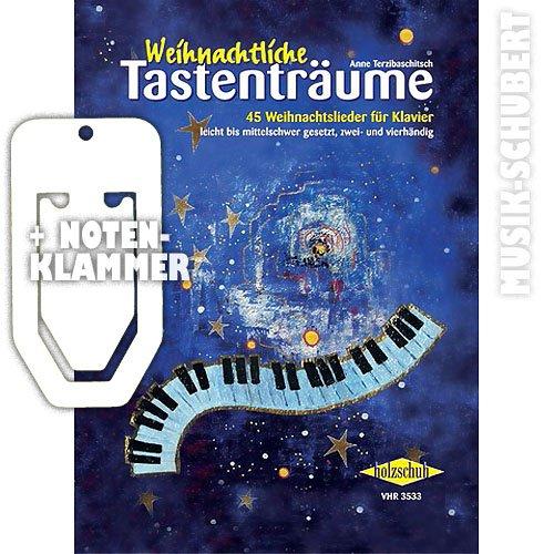 Weihnachtliche Tastenträume - Partituras de 45famosas canciones de Navidad para piano, incluye un práctico soporte, de nivel fácil hasta medio, a dos y cuatro manos (encuadernado) de Anne Terzibaschitsch (partituras) (idioma alemán)