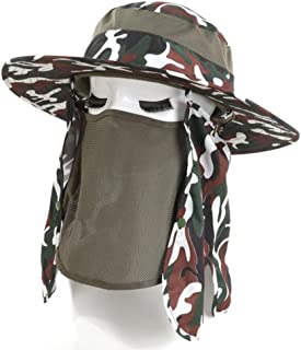 LPKH Visor Hat Men's Summer Outdoors Foldable Sun Hat Mask with Flap Neck Cover Sun Cap hat (Color : A)