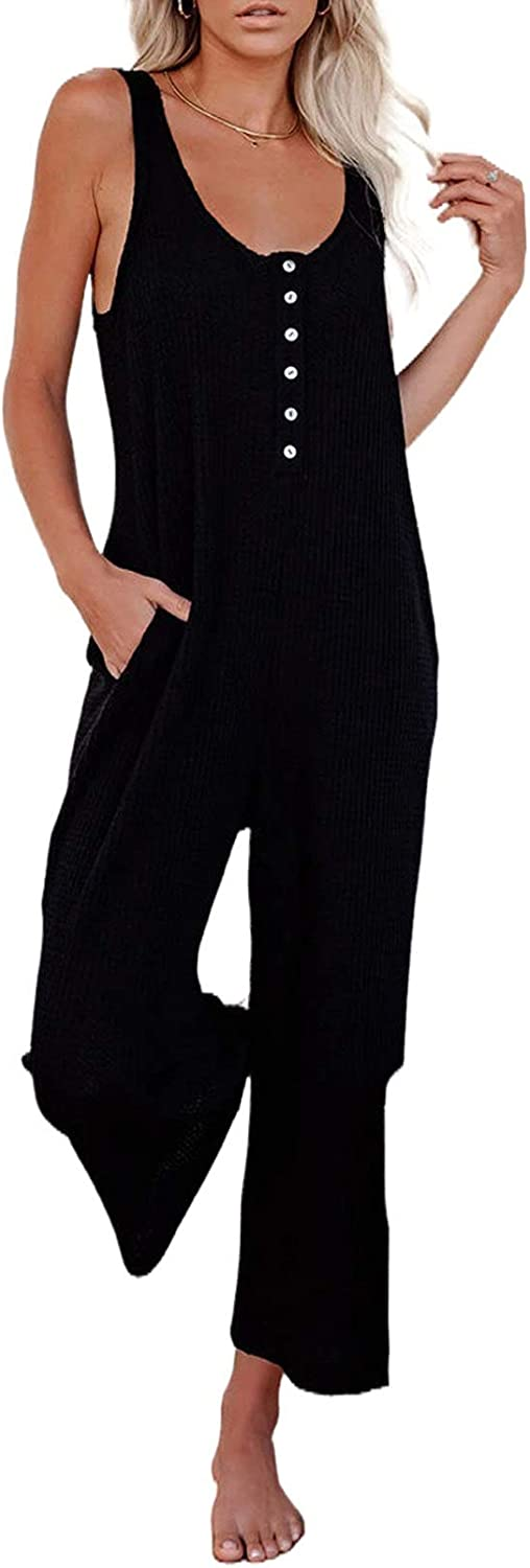 ROSKIKI Womens Solid Loose Sleeveless Full Back Button Down Pocketed Thermal Long Jumpsuit (S-XL)
