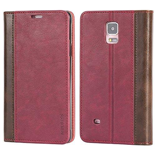 Mulbess Funda Samsung Galaxy Note 4 [Libro Caso Cubierta] Billetera Cuero de la PU Carcasa para Samsung Galaxy Note 4 Case, Vino Rojo