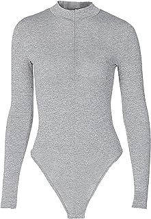 Kaerm Womens Mock Neck Zip Up Front Long Sleeve Tops T Shirt Bodysuit Jumpsuit