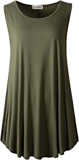 Women Solid Sleeveless Tunic for Leggings Swing Flare Tank Tops
