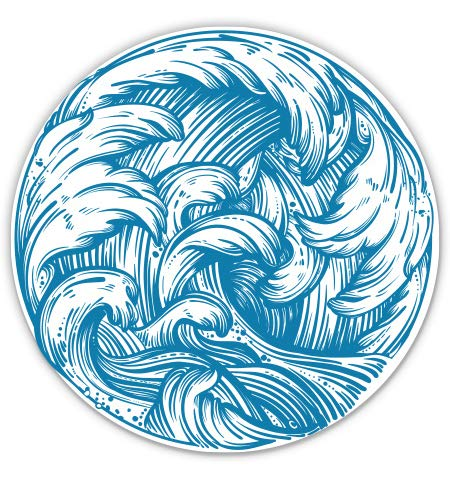 GT Graphics Ocean Wave Beautiful - 5' Vinyl Sticker - for Car Laptop I-Pad - Waterproof Decal