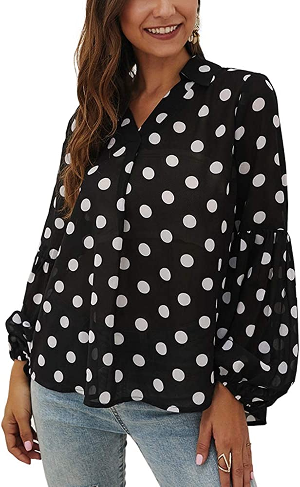 Womens Casual Fresno OFFicial shop Mall Tops Patchwork Long Chiffon Neck Lantern V Sleeve