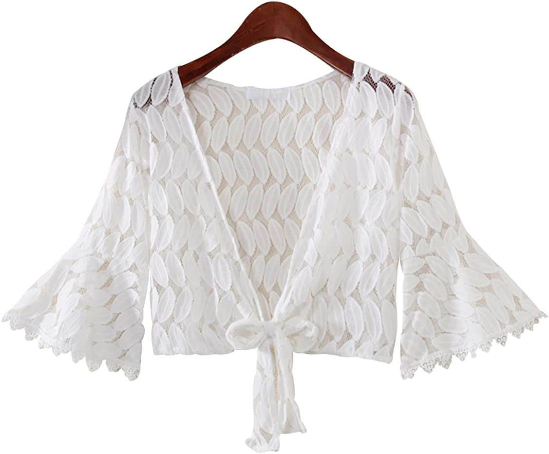 Trendy XU Women Half Flare Sleeve Lace Kimono Cardigan Beach Cropped Bolero Shrug Tops