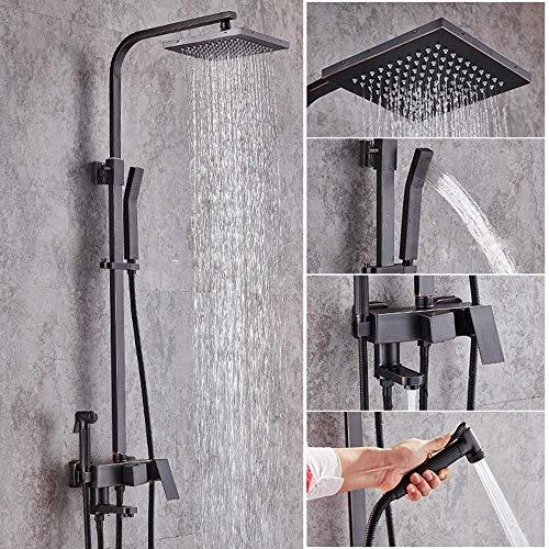 Jkckha Conjunto de ducha de baño negro moderno con 4 funciones Sistema de ducha de mano presurizada de la grifería de la función con barra de barra completa cobre para hacer el viejo negro duradero