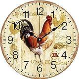 Mtye Hahn-3 / Retro Holz Hahn Runde Uhr/Wanduhr Küche Studie Schlafzimmer Mute dekorative Quarz Clock-in Wanduhren von zu Hause aus