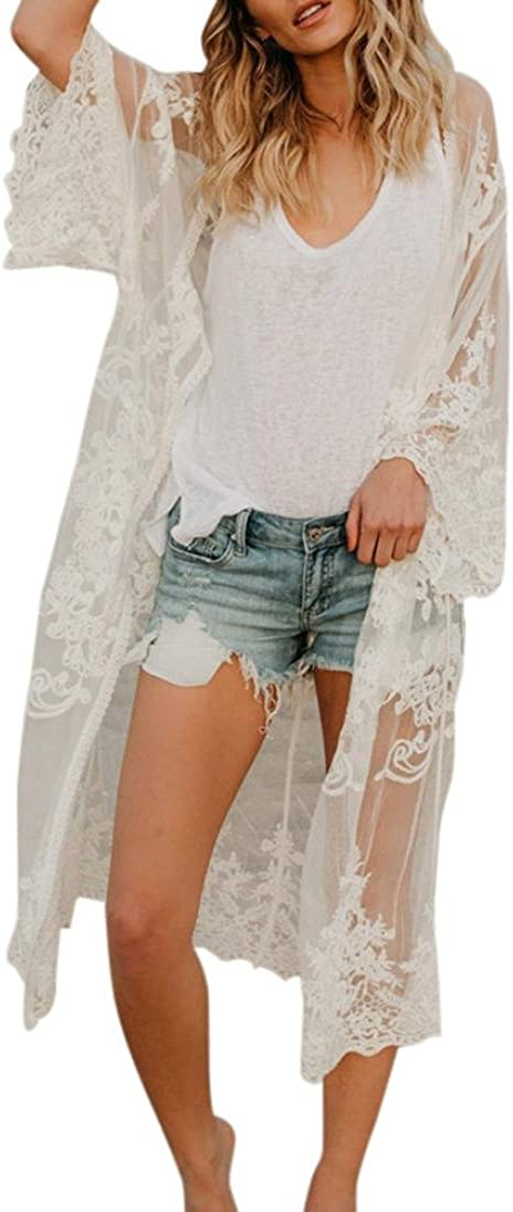 Mikey Store Elegant Kimono Bohemian Cardigans Lace Transparent Loose Long Sleeve Shawl Casual Cardigan