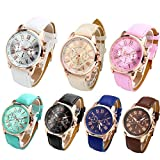 Top Plaza Fashion Womens Analog Quartz Wristwatches PU Leather Band Rose Gold/Gold Tone (Pack of 7)