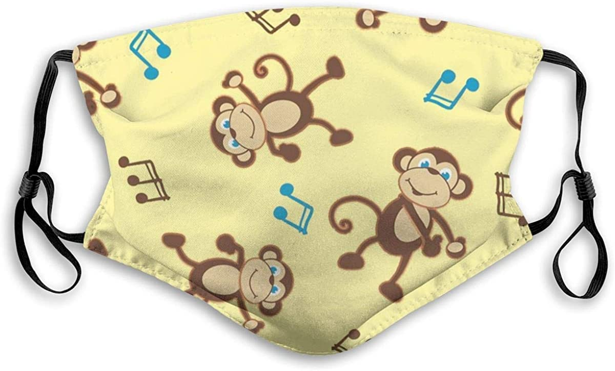 Monkey Music Face Mask Comfortable Adjustable Face Mask Comfortable Adjustable Balaclava Bandana for Women Men Personalized Black with Filter for