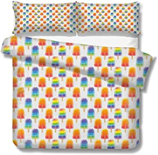 for Kids/Teens/Adults Hidden Zipper Quilt Cover Printed Ice Cream,Orange and Rainbow Colored Sugary Treats Popsicles Sweet Tooth Theme Pattern, Multicolor Duvet Cover Set Twin Size 68x86 inch