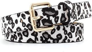 JJXSHLFL Fashion Leopard Spotted Horsehair Decorative Belt Women's Retro Wild pin Buckle Belt (Color : White, Size : 105 * 2.5cm)