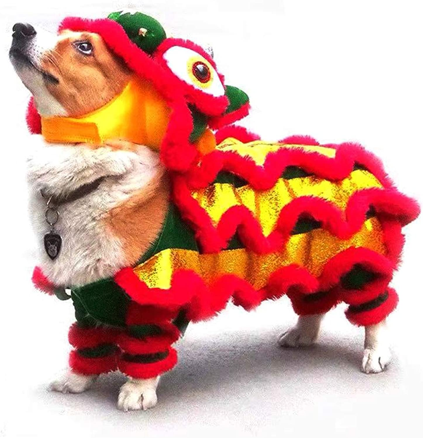 Fanny Dog Costume Lion Dance Dragon dance Clothing Apparel,Pet Festive Costume Dress Clothes For Small Medium Large Dog for Halloween Christmas Easter Cosplay Party Activity,Dog NOT Included  (L, Red)