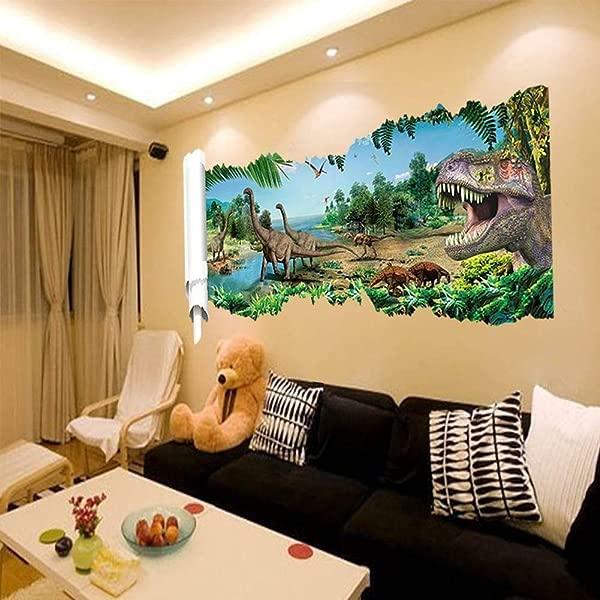 FidgetKute 大号 3D 视图恐龙墙贴艺术贴花儿童壁画客厅 DIY 装饰