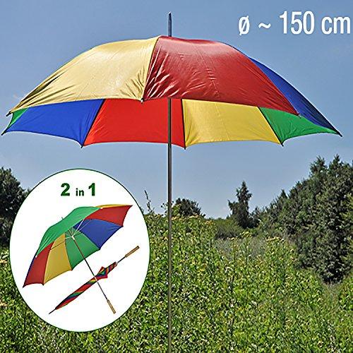 Mojawo Regen-und Strandschirm Sonnenschirm inkl. Tragetasche Garten Schirm Sonnenschutz Ø150xH180cm
