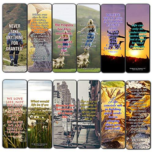 Creanoso Lesezeichen mit tollen Zitaten zum Nachdenken über das Leben, 30 Stück, Geschenk für Männer und Frauen, Teenager – Belohnungsgeschenke – tolle Lesezeichen-Kollektion für Bücherwürmer