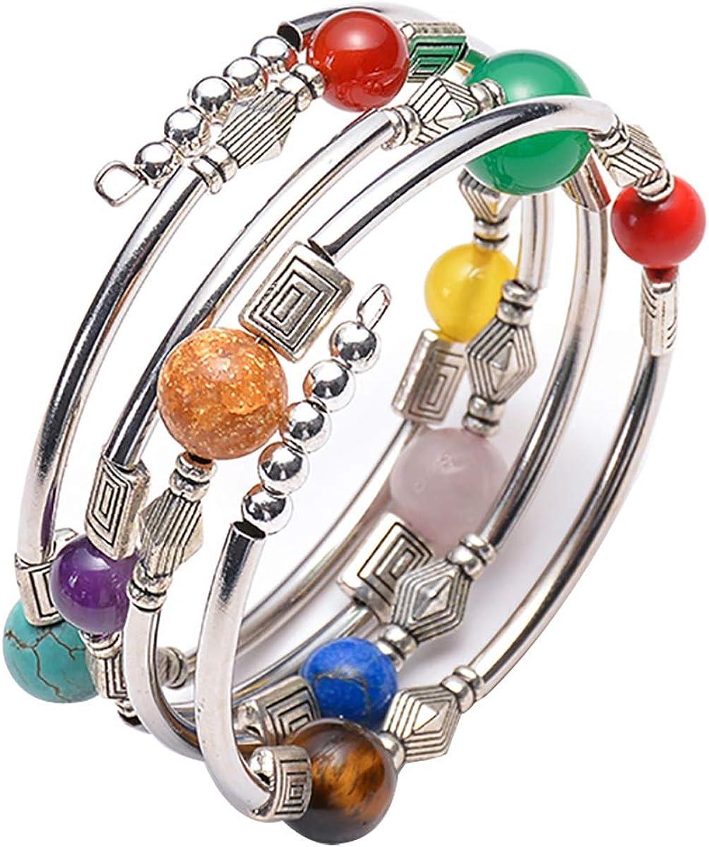 CUKEYOUZ Lava Rock Beads Chakra Bangle Turquoise Bracelet Handma
