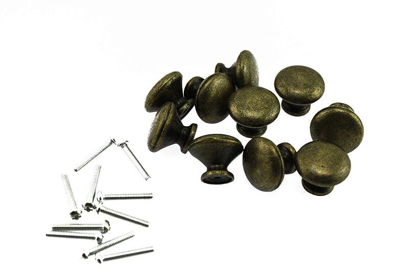 時系列限り協会Olive-G アンティーク レトロ デザイン 取っ手 つまみ ブロンズ カラー 中 25x20 DIY 10個セット (ねじ付き)