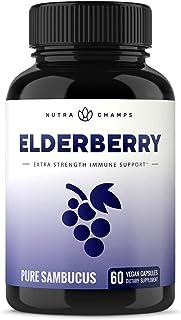 Elderberry Capsules 11,550mg - Premium Supplement for Powerful Immune System Support - Black Elder Berry Ex...