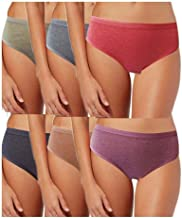 AJ FASHIONS Women's Cotton Multicolor Plain Brief Underwear Panty Panties (Pack of 6) + Free Transparent Strap[1 Pair ] with This Pack