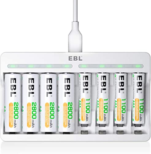 EBL 8 Slots AA AAA Battery Charger and 4 AA and 4 AAA Rechargeable Batteries - 5V 2A Fast Charging Battery Charger & ...