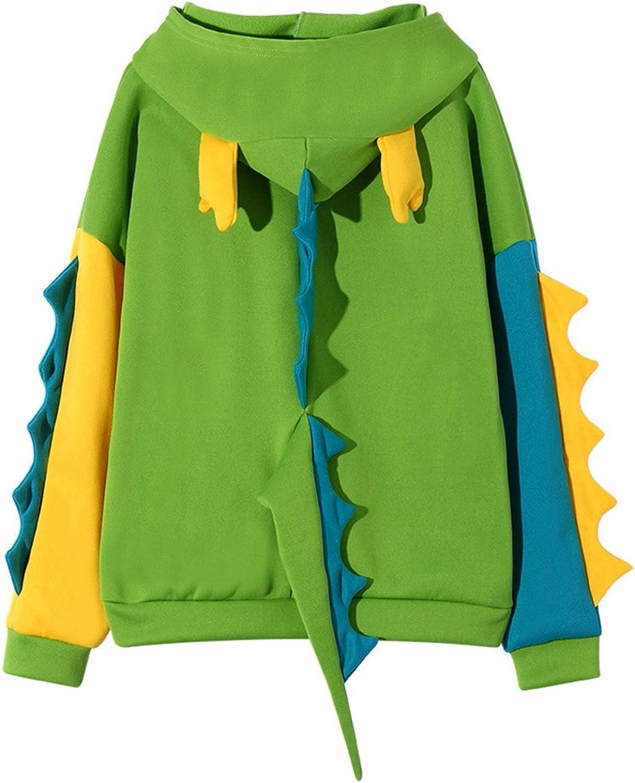 Kawaii Dinosaur Sweatshirt Tops for Women's Casual Hoodie Print Long Sleeve Shirts + Lovely Chicks Print Sweatshirt