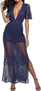 BBYES Womens Sexy V-Neck Short Sleeve Long Dress Lace Romper Maxi Beach Dress