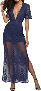 Womens Sexy V-Neck Short Sleeve Long Dress Lace Romper Maxi Beach Dress