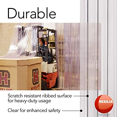 Resilia Vinyl Replacement Strip Curtain for Walk-in Freezers, Coolers, and Warehouse Doors - Industrial Grade Plastic Curtain