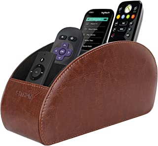 SITHON Remote Control Holder with 5 Compartments - PU Leather Remote Caddy Desktop Organizer Store TV, DVD, Blu-Ray, Media Player, Heater Controllers, Brown