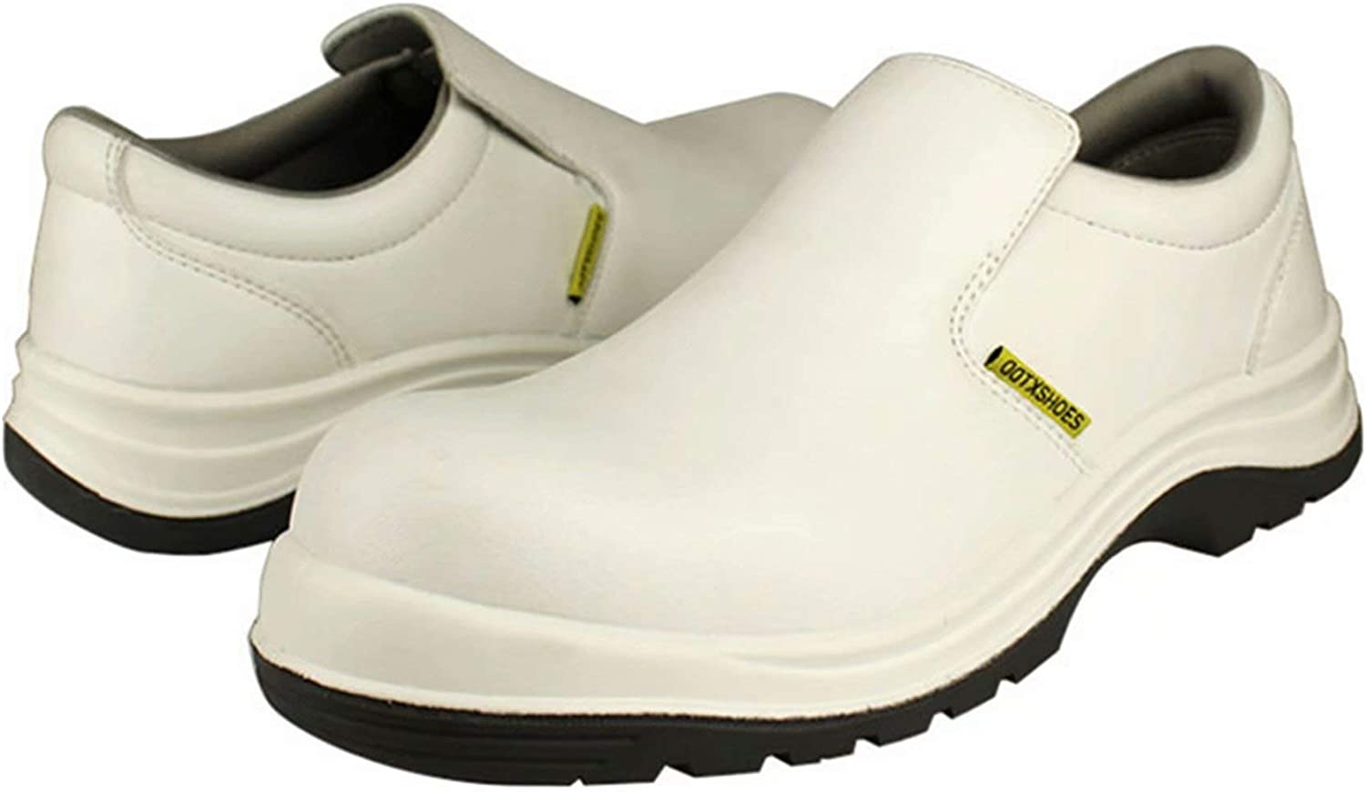 DDTX Safety Work shoes Unisex Composite Toe SRC Anti-slip Anti-static On Kitchen for Chef S2 White 12UK
