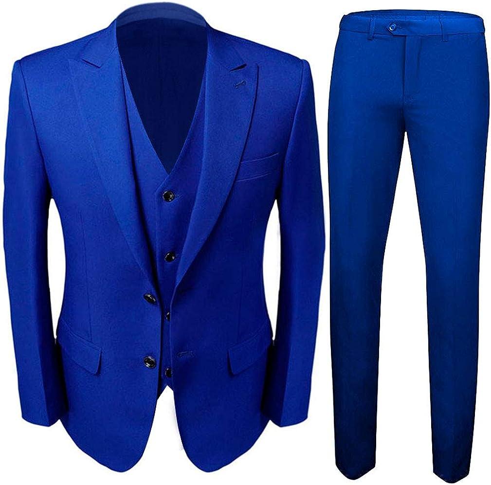 Ak Beauty Men S 3 Piece Two Buttons Royal Blue Suit Jacket Pants Vest Wedding Suits For Men At Amazon Men S Clothing Store