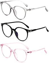 Blue Light Blocking Gaming Glasses Spectacles Anti Eyestrain Glasses Eyewear Retro Vision Care Anti Glare for PC Laptop Gamer Computer Reading (Transparent Pink)