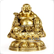 Ornaments Statues Sculptures Chinese Buddhism Brass Happy Laugh Maitreya Buddha with Ruyi Sitting On Lotus Statue