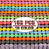 162 Pack 18 Colors Washable Sidewalk Chalk Set, Non-Toxic Jumbo Chalk for Outdoor Art Play, Paint on Playground, School Classroom Chalkboard, Office Blackboard, Outside Toys Gift For Kid and Adult