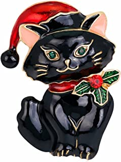 Women's Vintage Enamel Lovely Cat Christmas Brooch Pin Breastpin Xmas Gift (Black)
