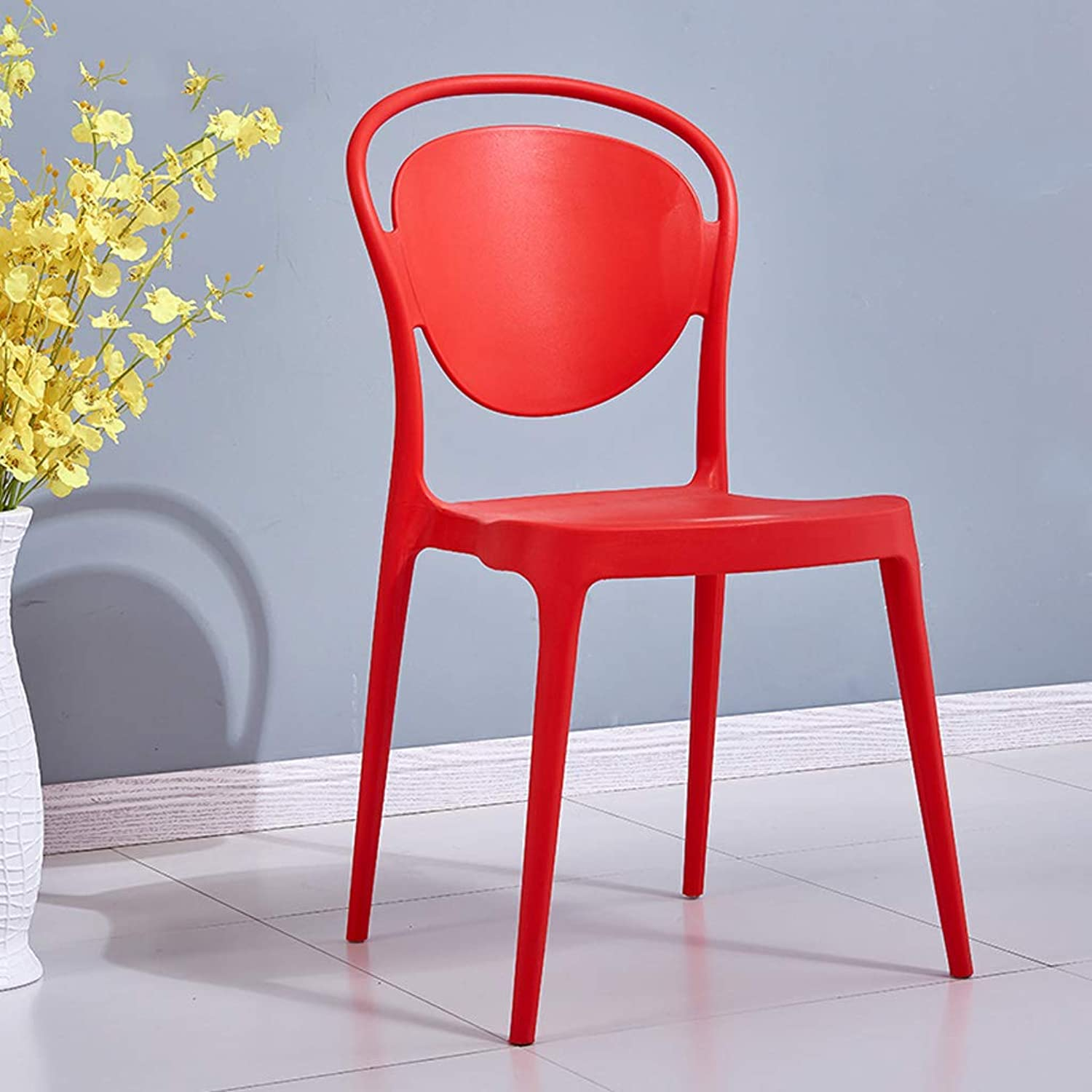 Modern Nordic Simple Dining Chair Backrest Creative Office to Discuss Chairs Adult Plastic Fashion Restaurant Chair Stool Red